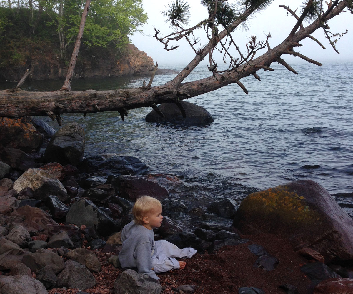 baby on the beach lake superior north shore
