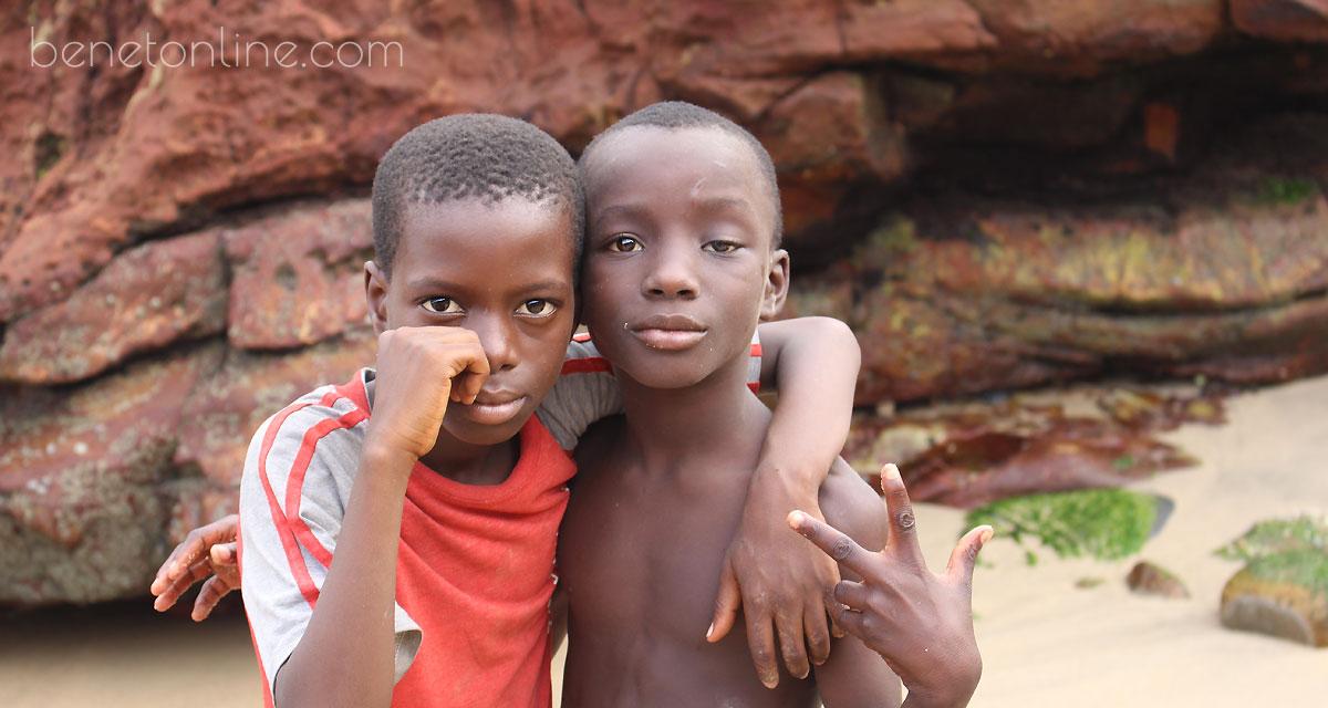 African boys on the beach